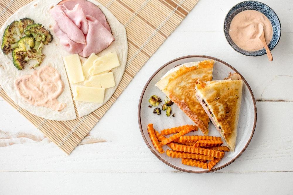 Warm Ham, Broccoli, and Cheddar Tortilla Wrap