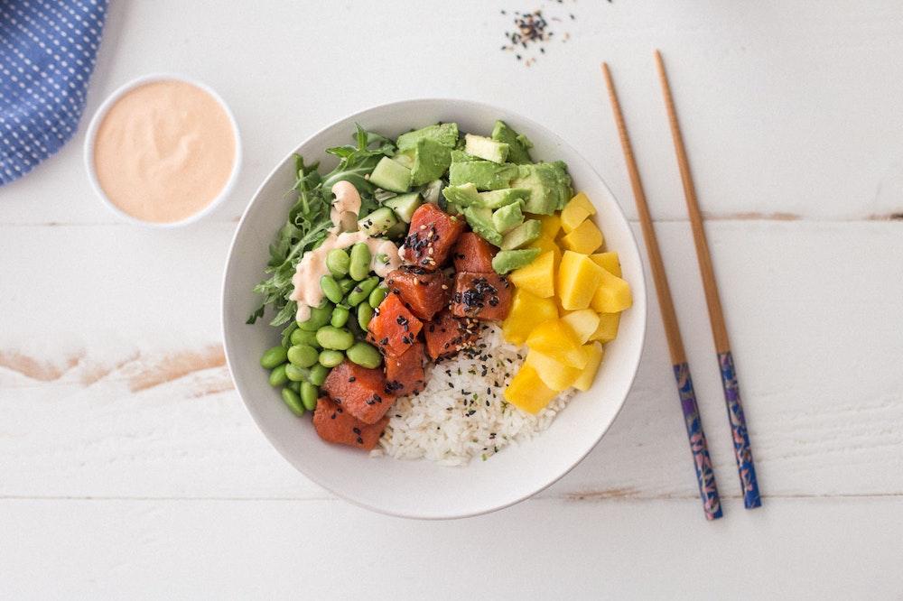 Mango and Cucumber Salmon Poke Bowl