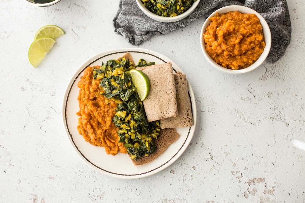 Ethiopian Lentils (Misir Wot) and Collards (Gomen)