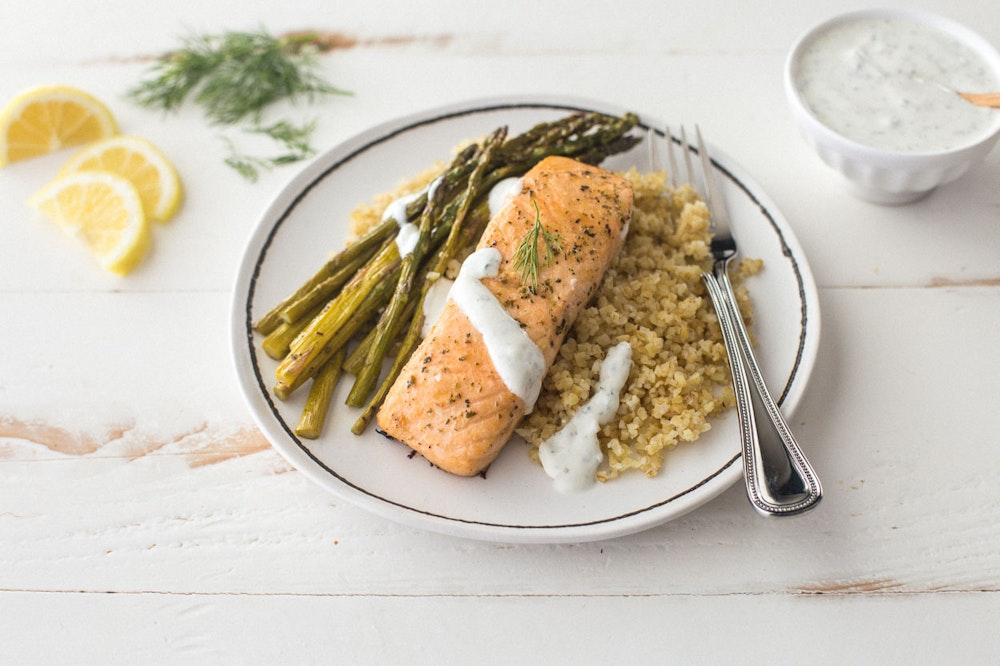 Sheet Pan Salmon with Lemon-Dill Yogurt Sauce