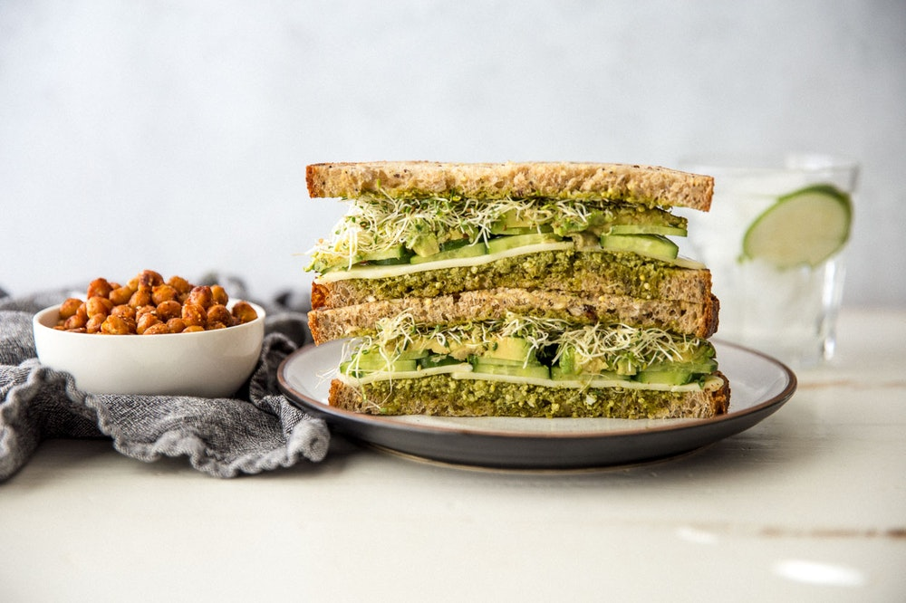 """Green 'Everything"""" Sandwich with Avocado"""