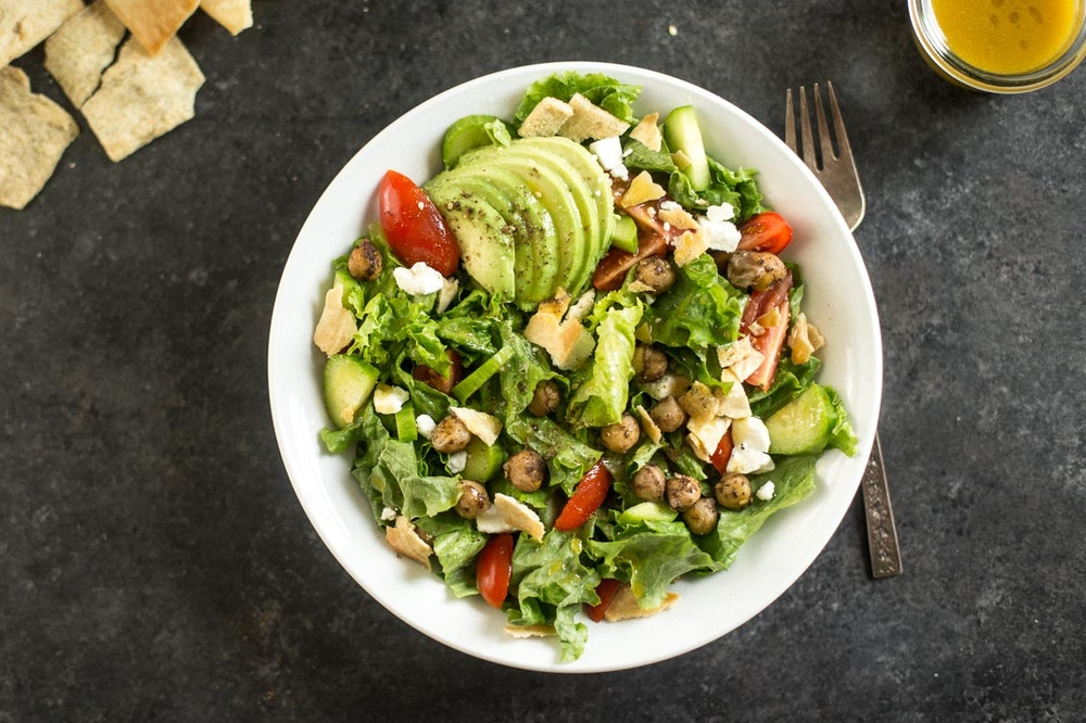Fattoush Salad with Pan-Fried Chickpeas