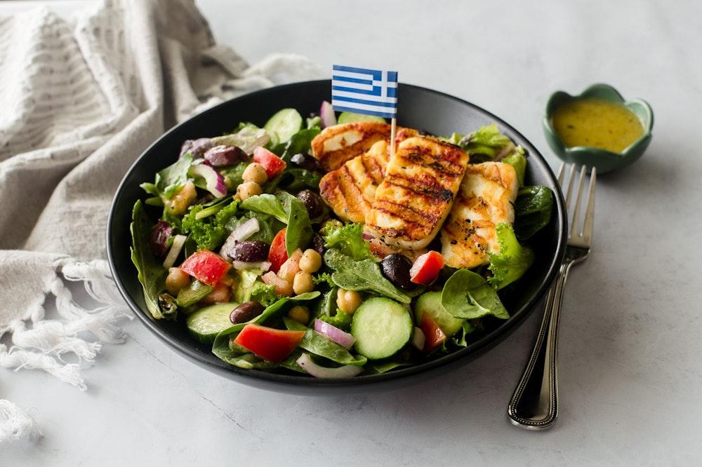 Greek Salad with Seared Halloumi