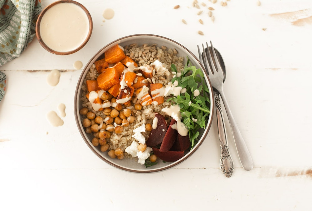 Harvest Bowl with Sweet Potatoes and Chickpeas