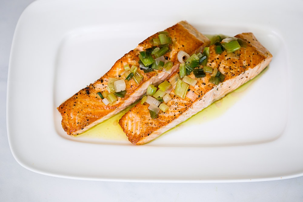 Salmon with Green Onion Vinaigrette
