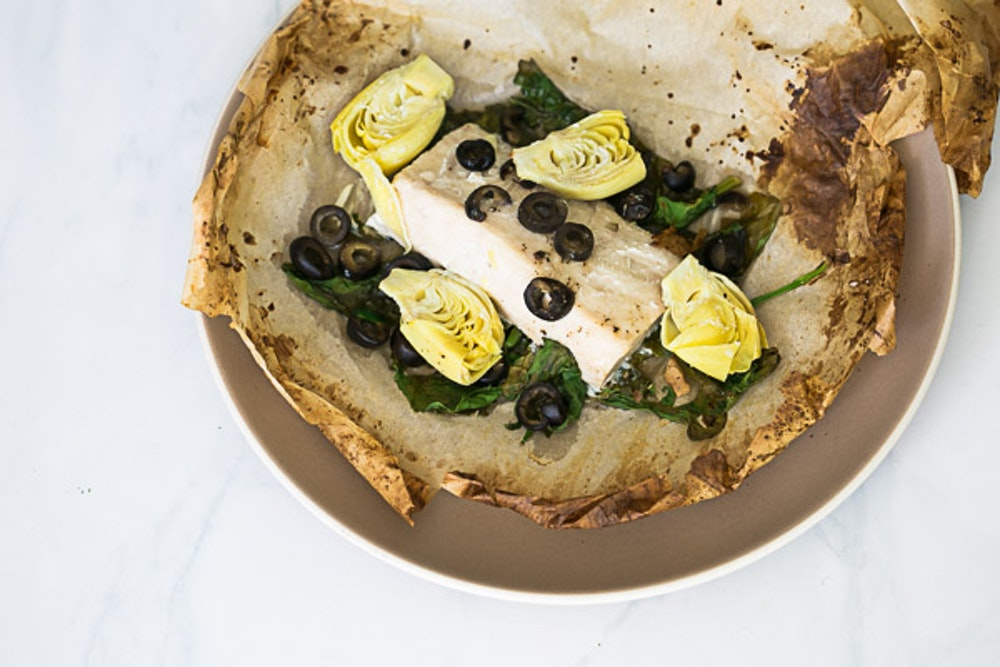 Fish en Papillote with Crème Fraiche & Mustard Sauce