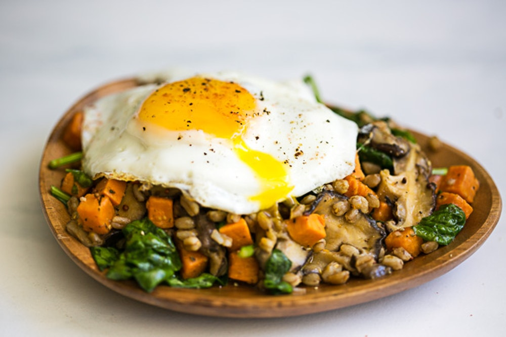 Farro Salad with Sweet Potatoes & Mushrooms