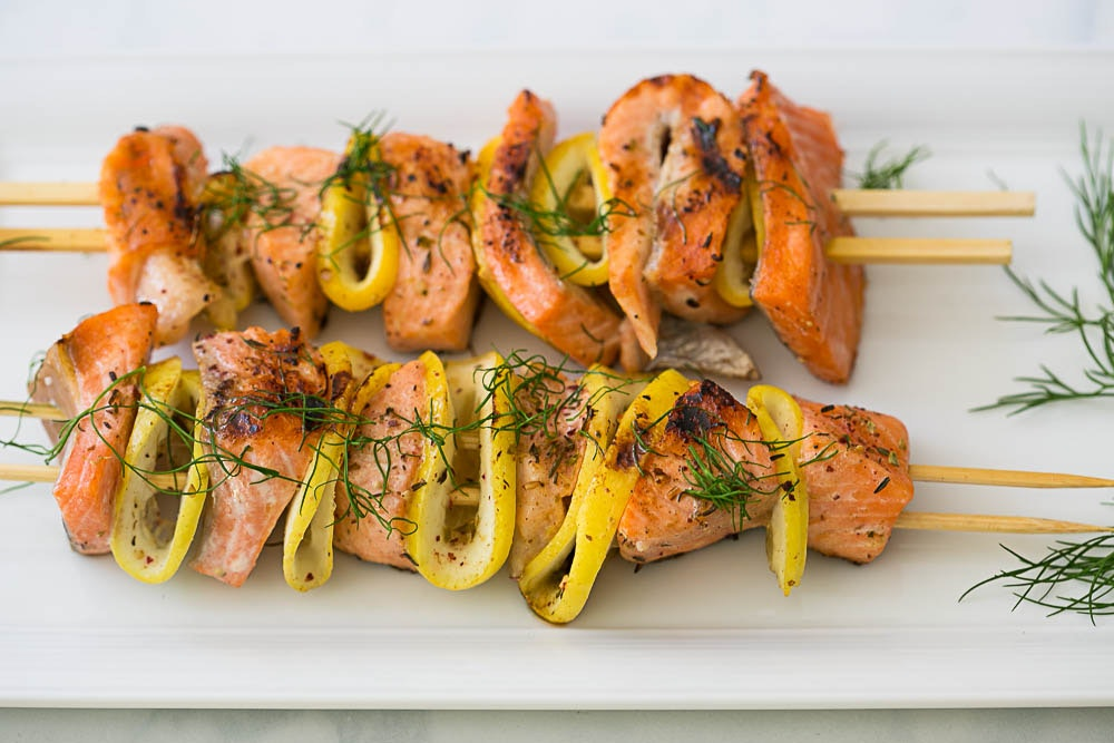 Middle Eastern Salmon and Lemon Kebabs