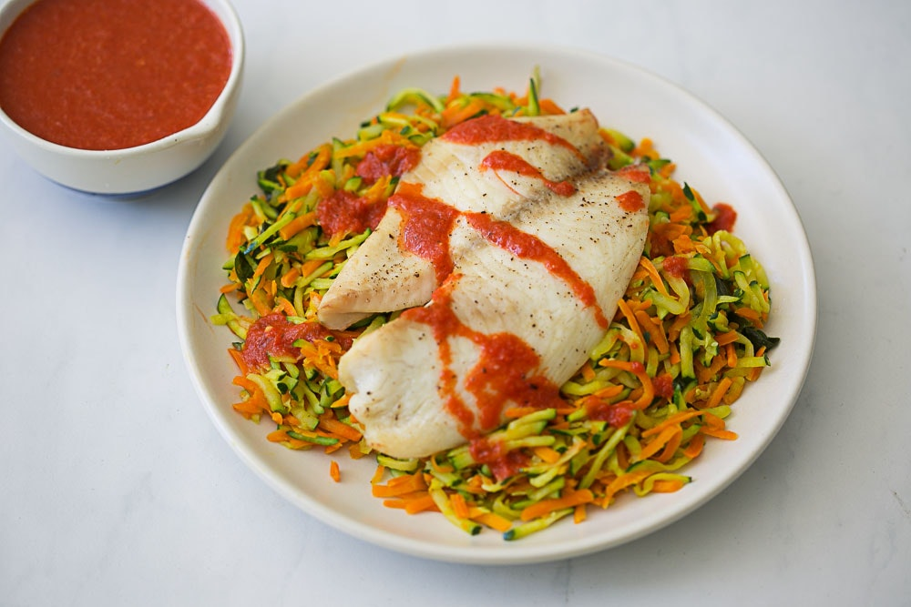 Roasted Tilapia and Carrot & Zucchini Hash
