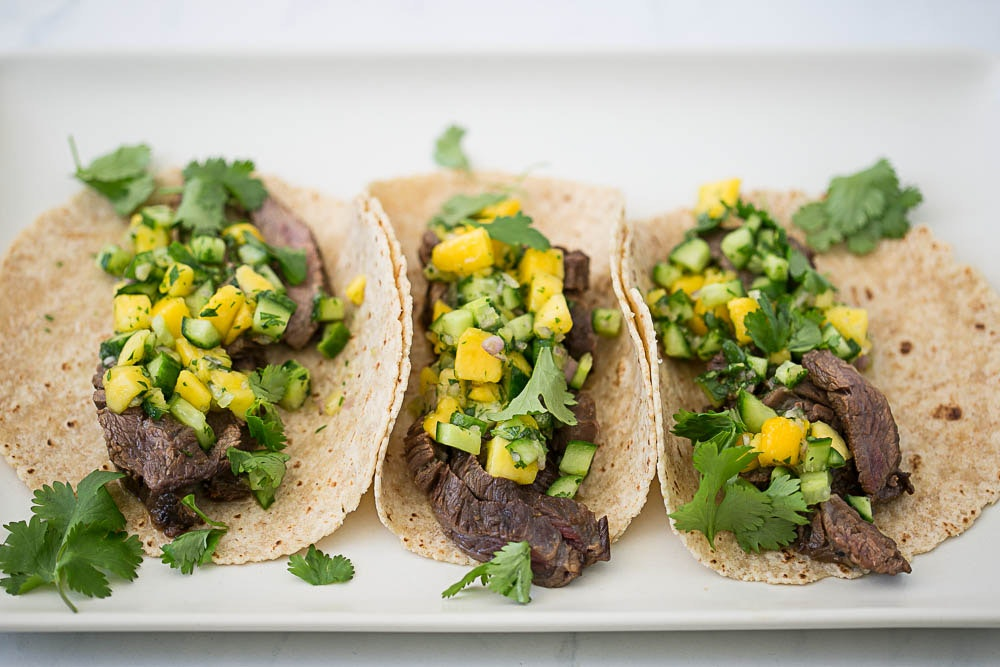 Thai Tacos with Mango & Cucumber Salsa