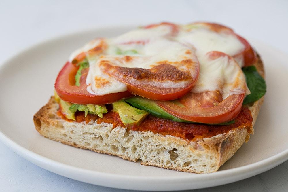 Tomato, Avocado, Hummus Melts