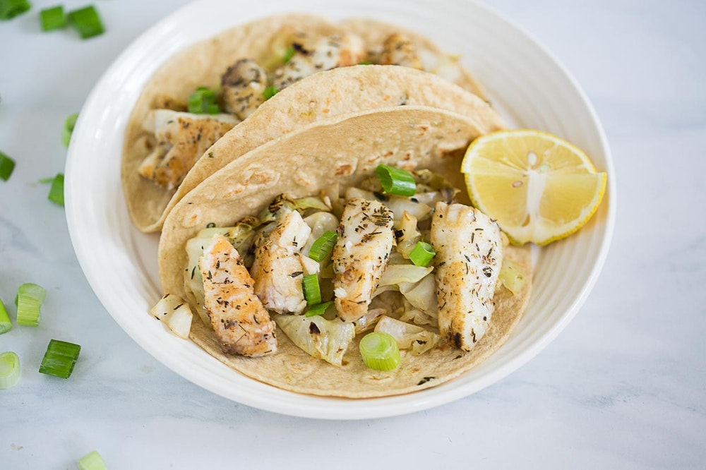 Sauteed Fish Tacos with Creamy Cabbage