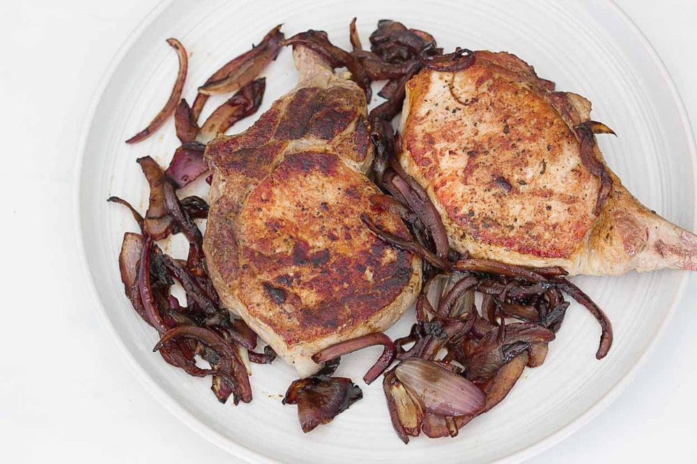 Pork Chops with Balsamic Red Onions {Favorites}