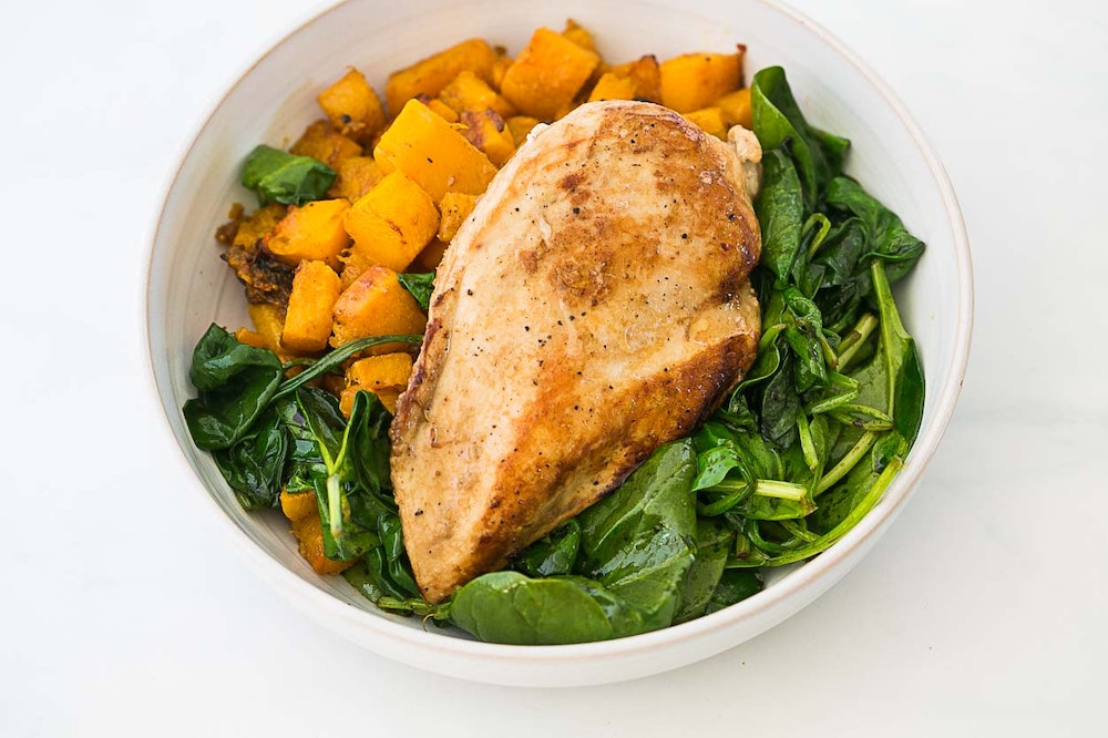 Balsamic Chicken with Sauteed Spinach