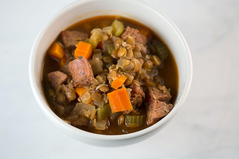 Slow Cooker Lentil and Sausage Soup