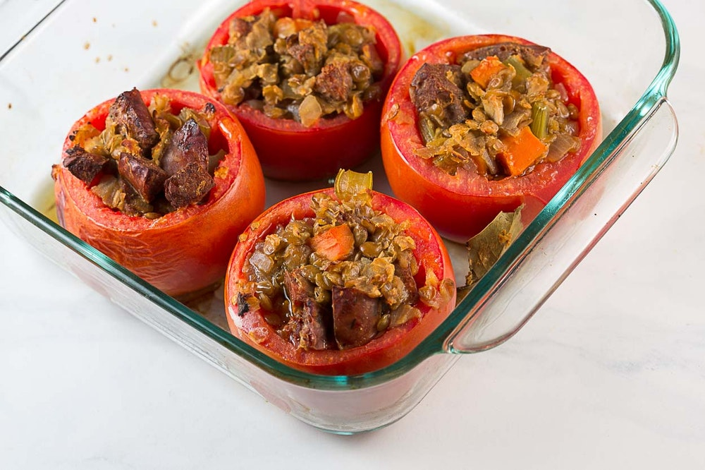 Lentil and Sausage Stuffed Tomatoes