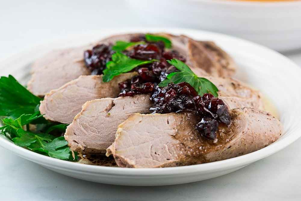 Pork Tenderloin with Cran-Balsamic Sauce