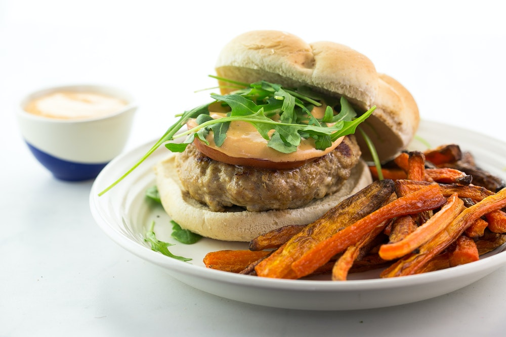 Turkey Burgers with Adobo Honey Sauce