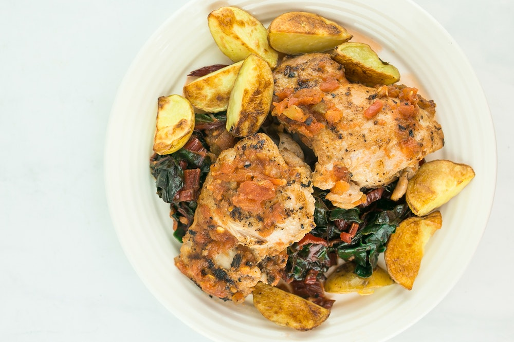 Skillet Chicken with Chard