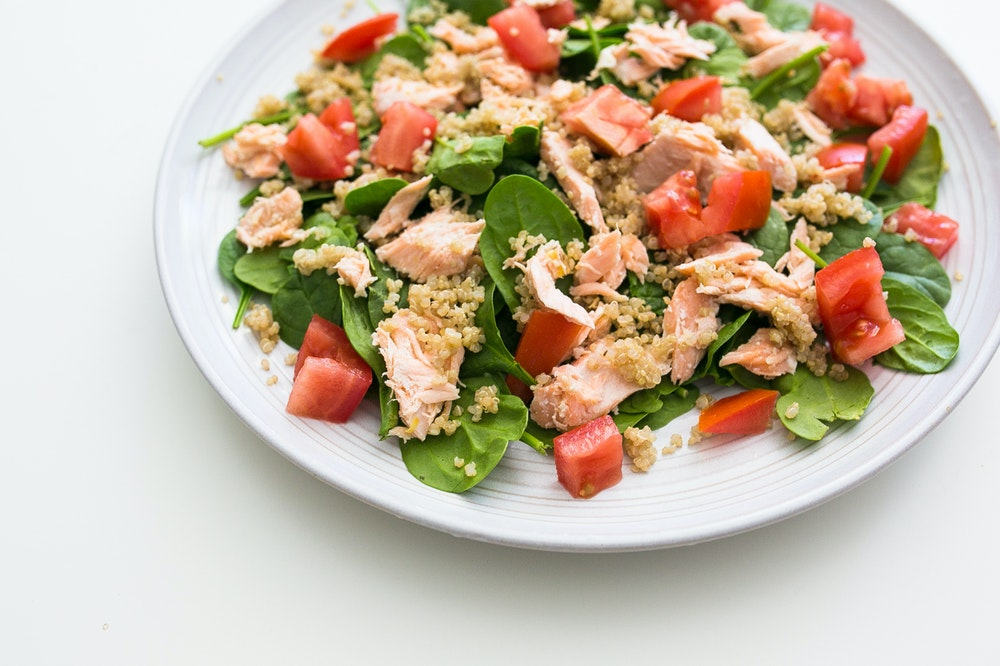 Leftover Salmon Spinach Salad