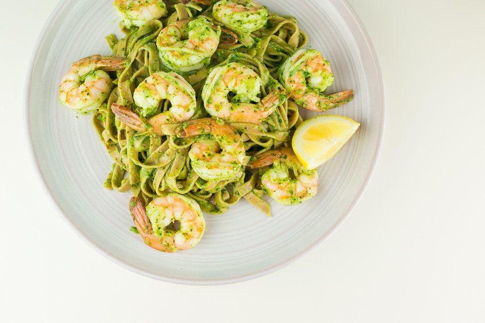 Pesto Spaghetti with Shrimp