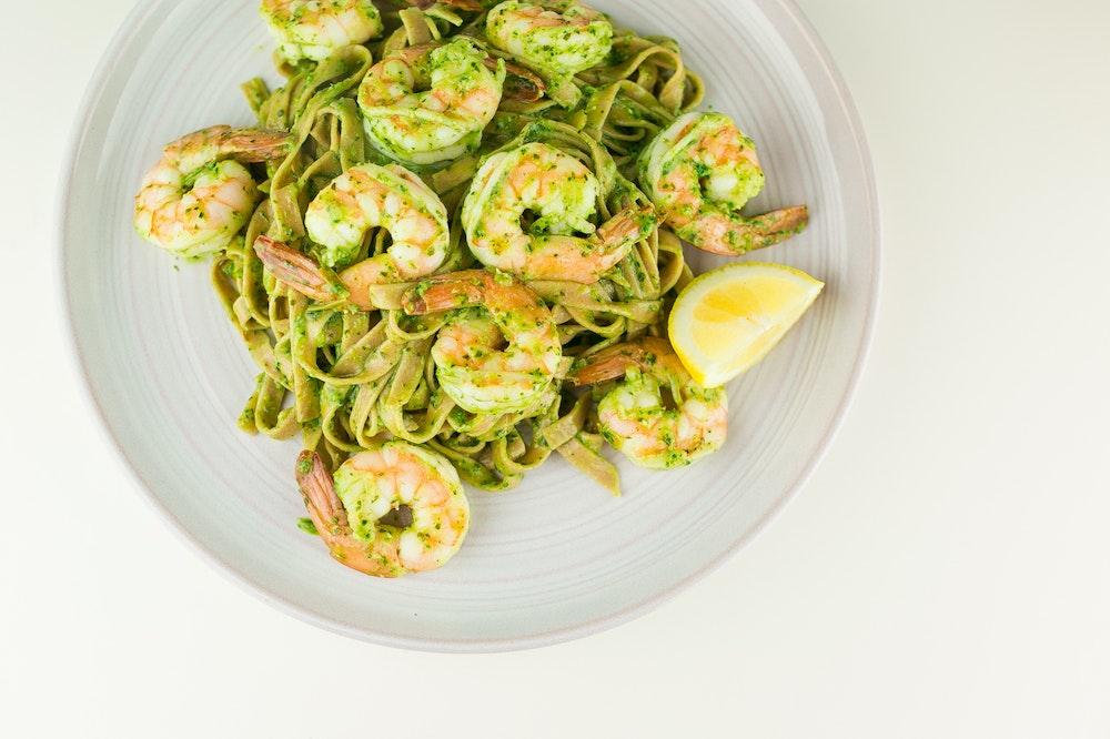 Pesto Spaghetti with Shrimp