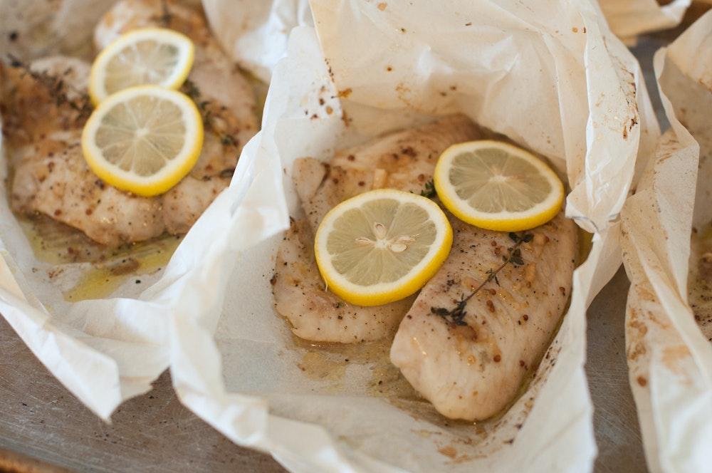 Dijon-Thyme and Lemon Fish Packets