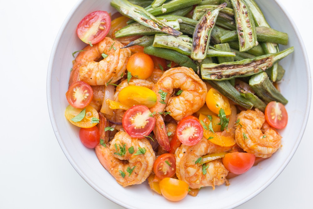 Cajun Shrimp (or Tempeh) Saute