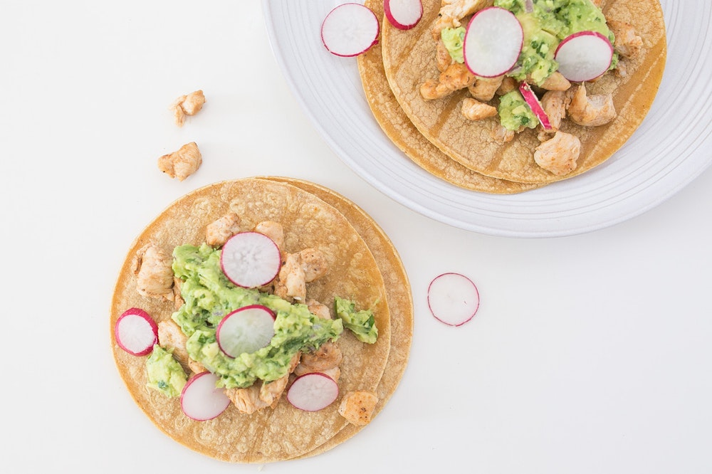 Cumin & Coriander Chicken Tacos with Sliced Radishes