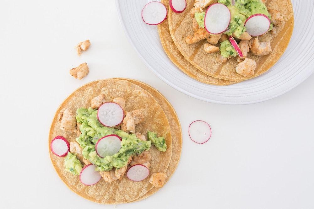 Cumin & Coriander Chicken Tacos with Sliced Radishes