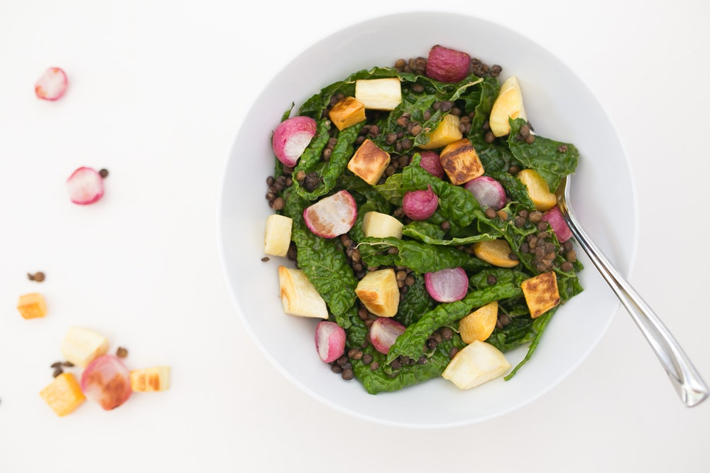 Kale Salad with Roasted Root Veggies and Lentils