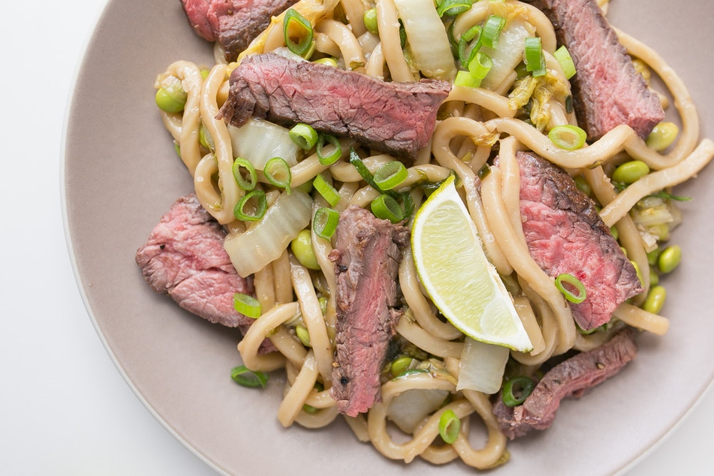 Broiled Steak with Stir-Fried Noodles
