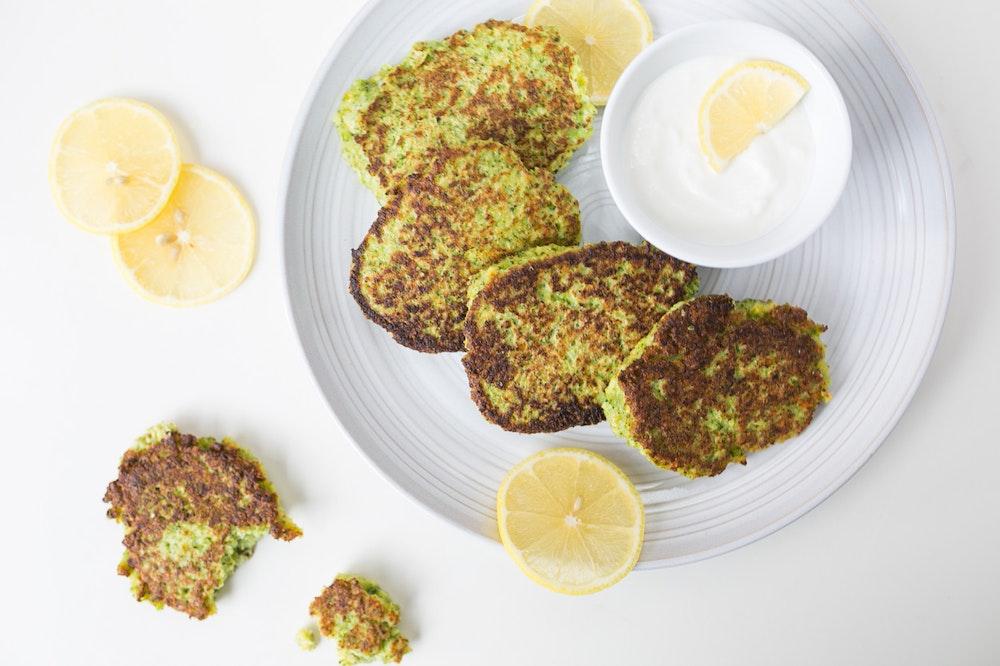 Pan-Fried Broccoli Fritters with Garlic-Lemon Yogurt