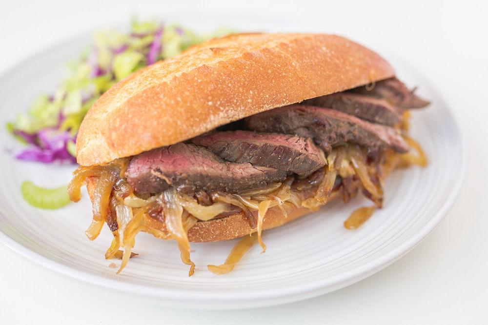 Skirt Steak Sandwich with Caramelized Onions