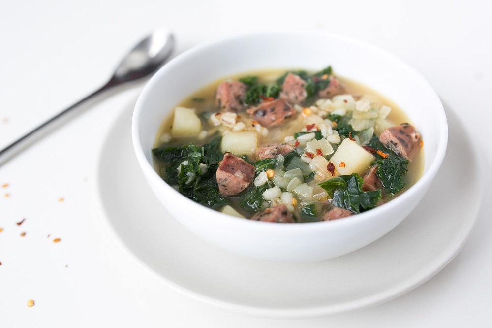 Spicy Sausage, Potato, and Kale Soup
