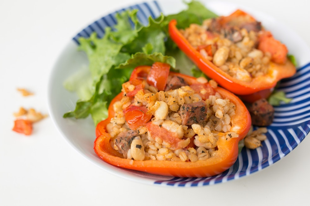 Sausage and Leftover Barley Stuffed Peppers