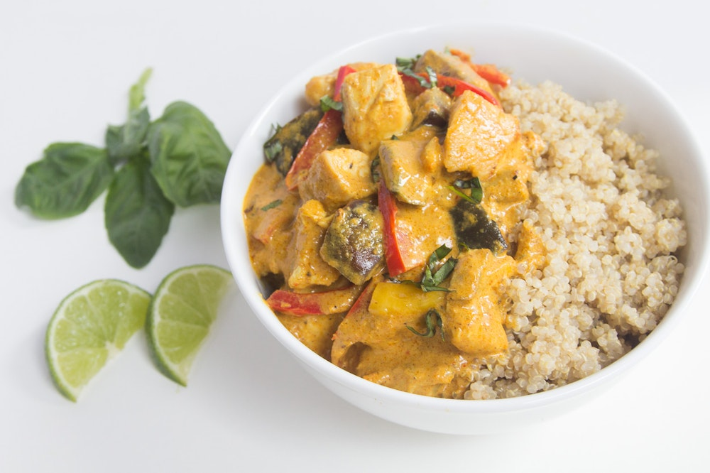 Thai Chicken Curry with Eggplant and Mango