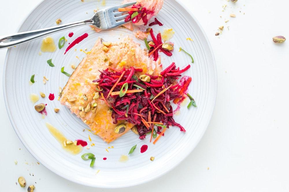 Orange-Ginger Roasted Salmon with Quinoa