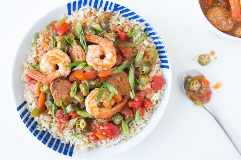 Sausage & Shrimp Gumbo with Brown Rice