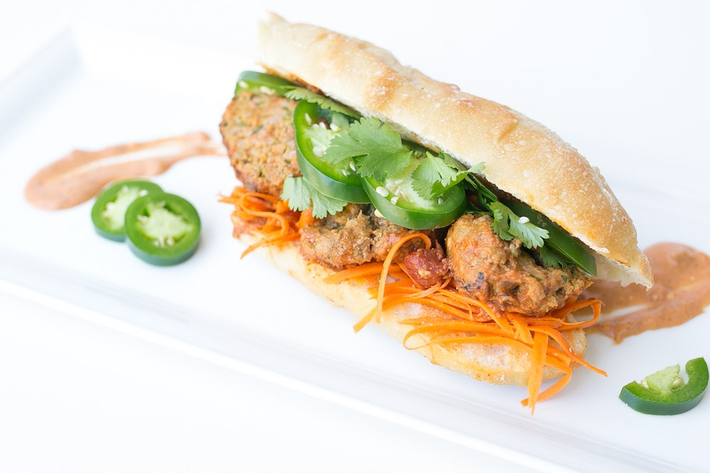 Indian Banh Mi with Leftover Meatballs
