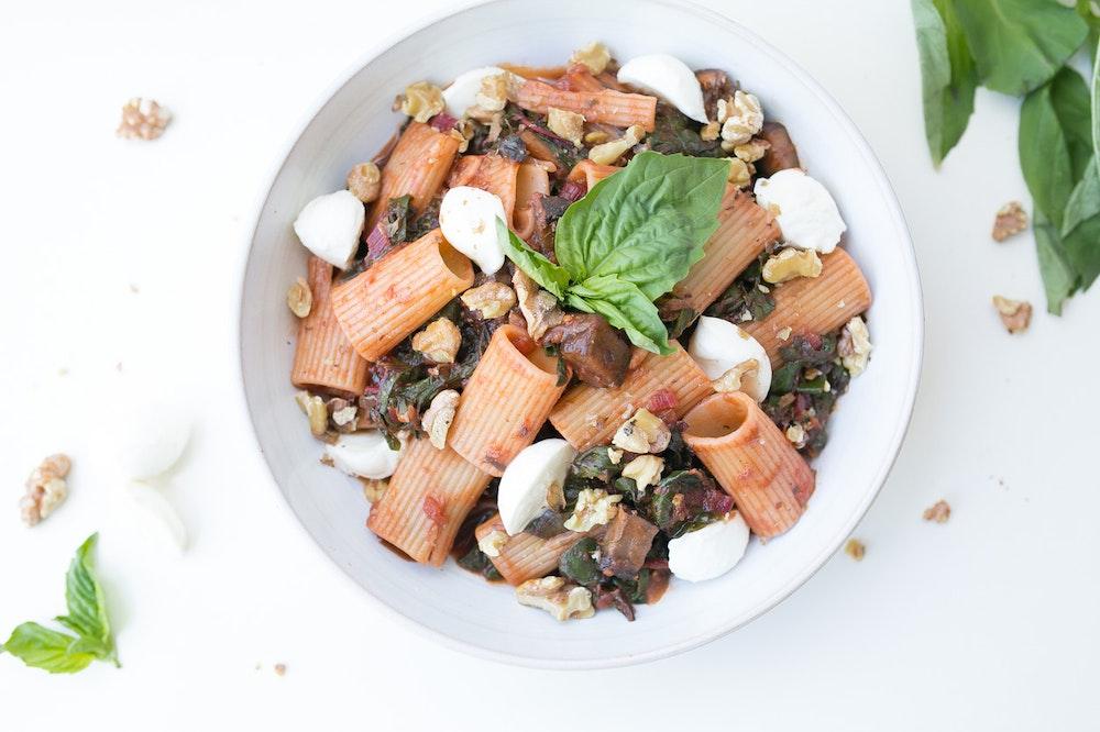 Rigatoni with Chard and Mushrooms