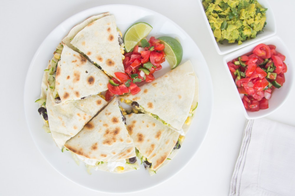 Black Bean, Zucchini and Goat Cheese Quesadillas
