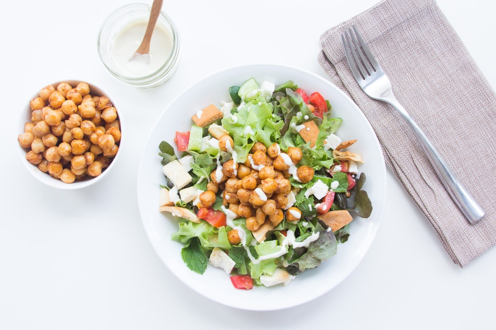 Fattoush with Pan-Fried Chickpeas