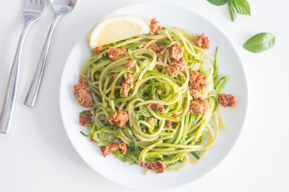 "Pesto Zucchini Ribbon ""Noodles"""