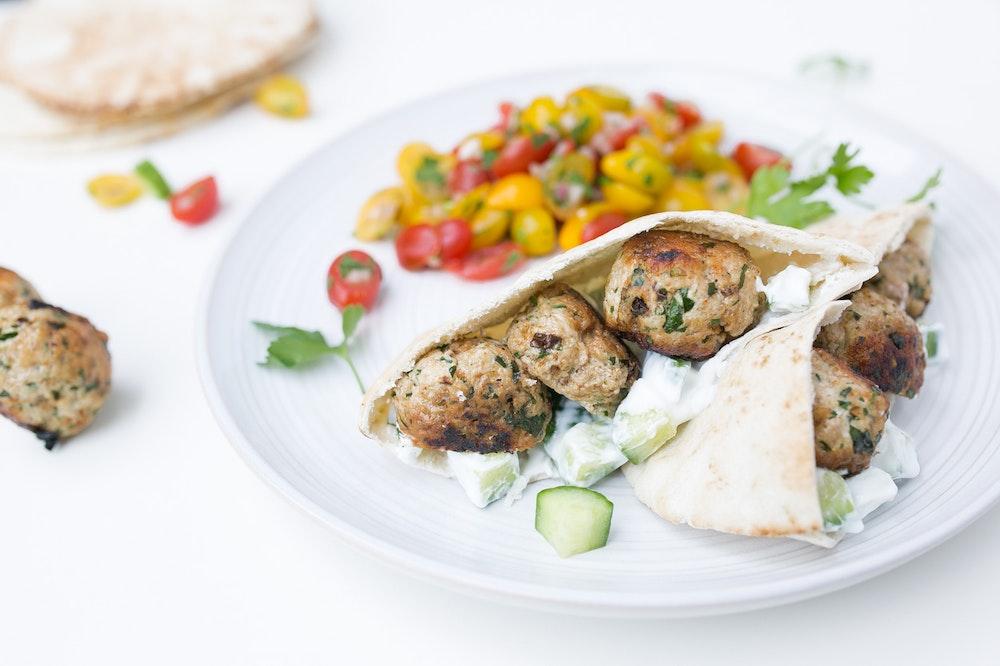 Mediterranean Meatballs in Pita Pockets