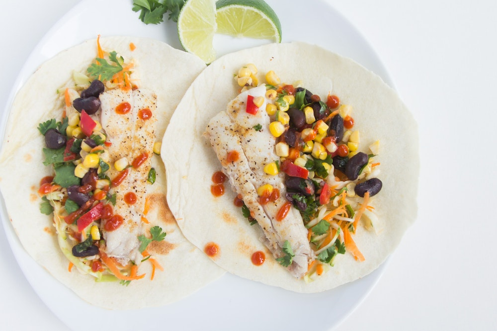 Tilapia Tacos with Cilantro Lime Slaw