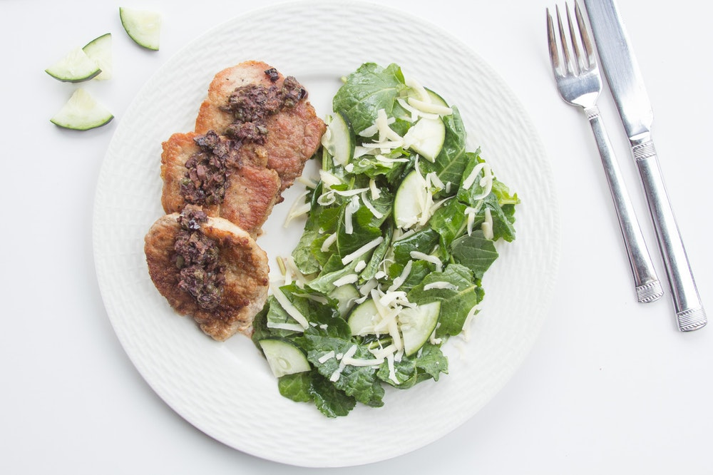 Pork Cutlets with Olive-Caper Sauce