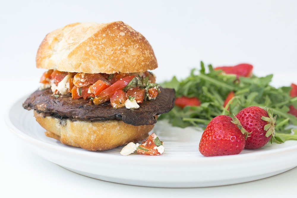 Grilled Portobello Burger with Roasted Red Pepper & Feta Salsa