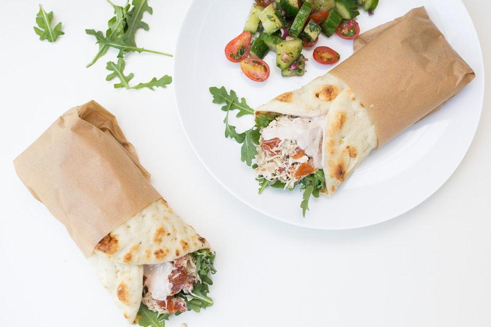Slow Cooker Mediterranean Chicken Wraps