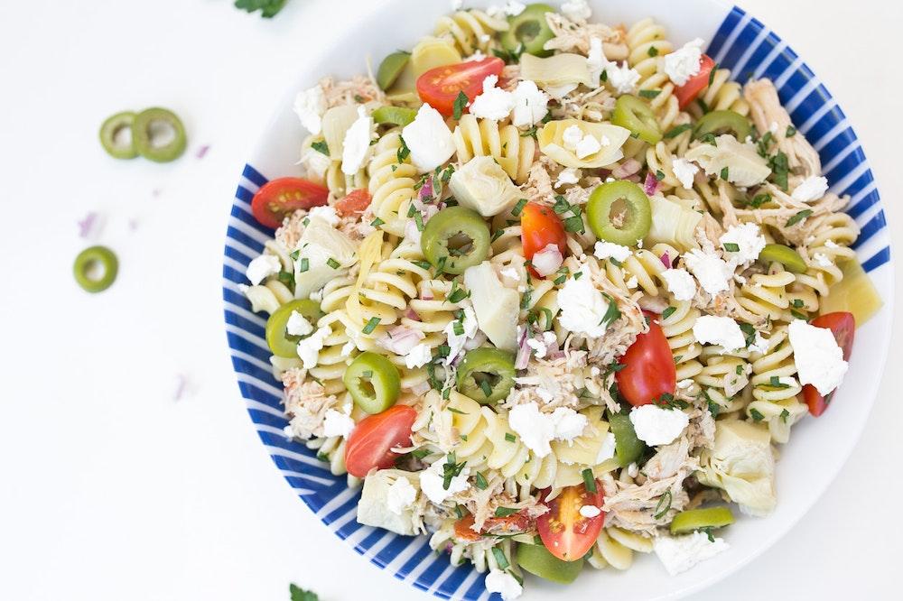 Pasta Salad with Leftover Mediterranean Chicken